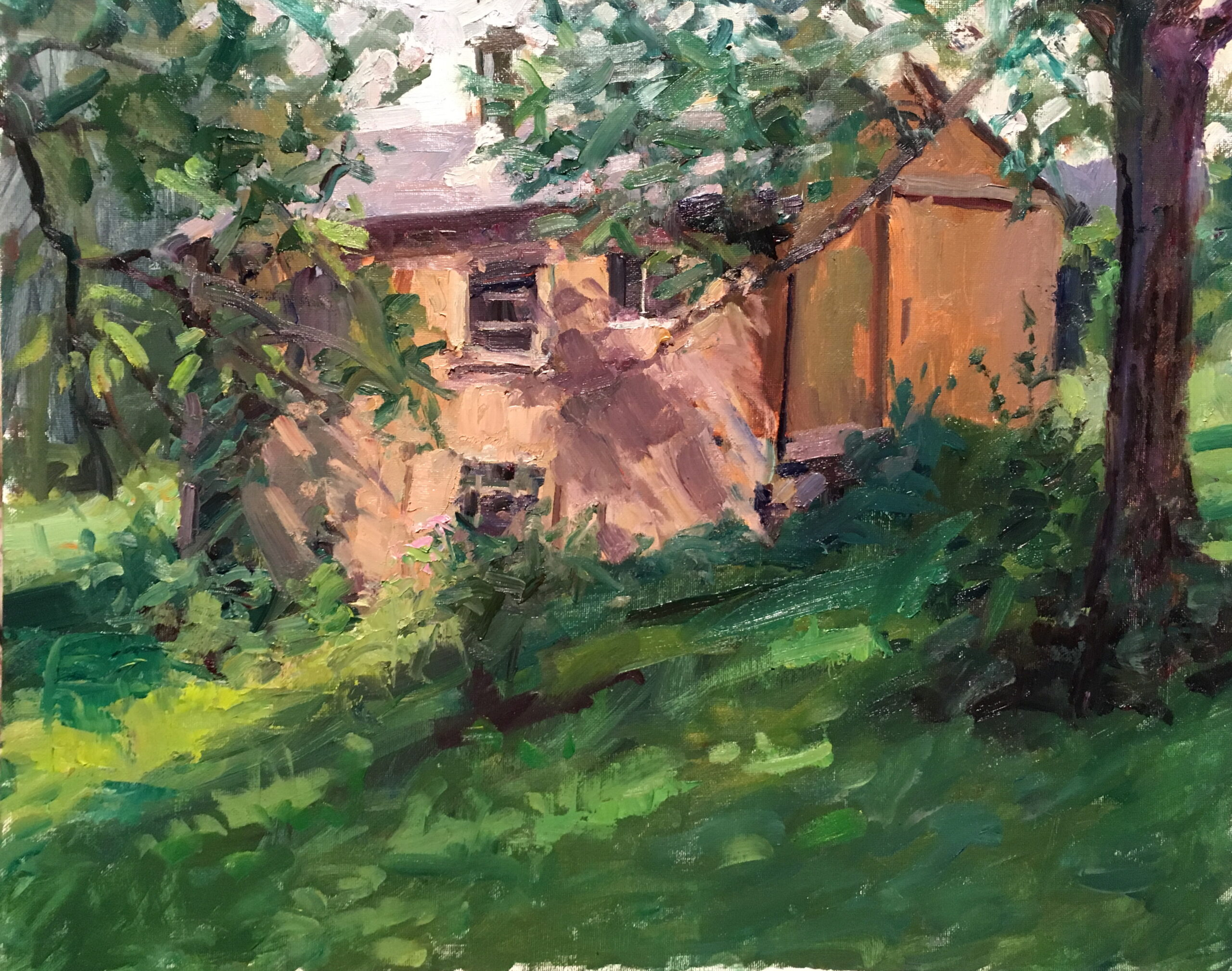 Barn in August, Oil on Canvas on Panel, 16 x 20 Inches, by Susan Grisell, $550