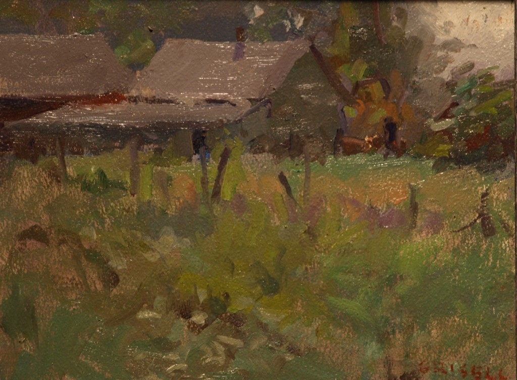 Barns and Fence, Oil on Linen on Panel, 8 x 10 Inches, by Susan Grisell, $150