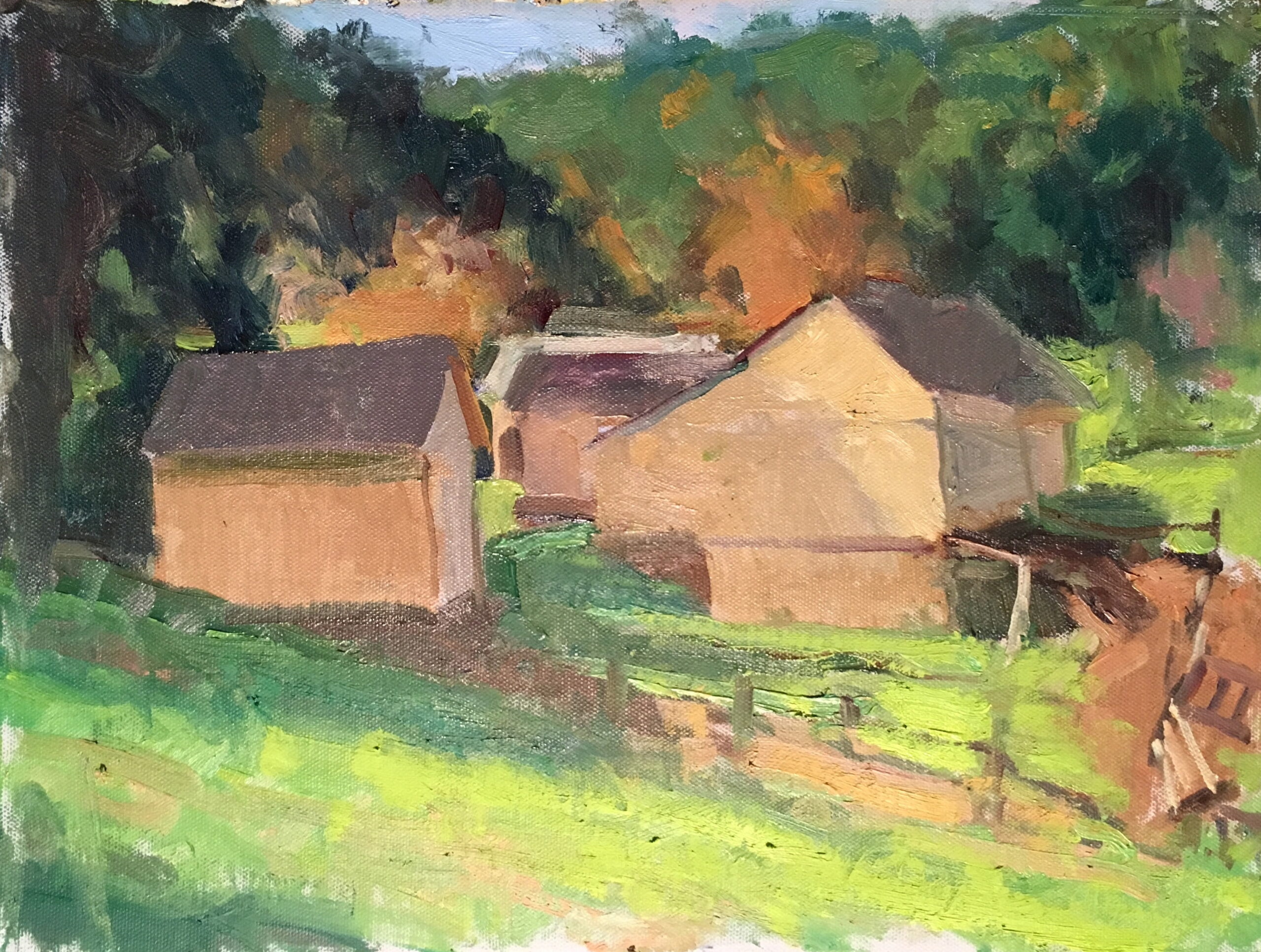 Barns in October, Oil on Canvas on Panel, 12 x 16 Inches, by Susan Grisell, $325