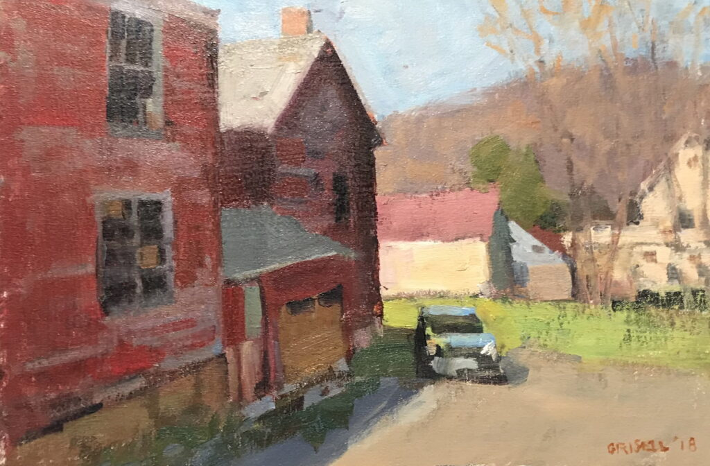 Behind the Library, Oil on Canvas on Panel, 12 x 18 Inches, by Susan Grisell, $325