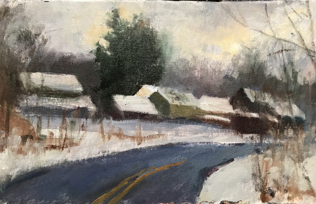 Below Liberty Hill, Oil on Canvas on Panel, 9 x 16 Inches, by Susan Grisell, $275