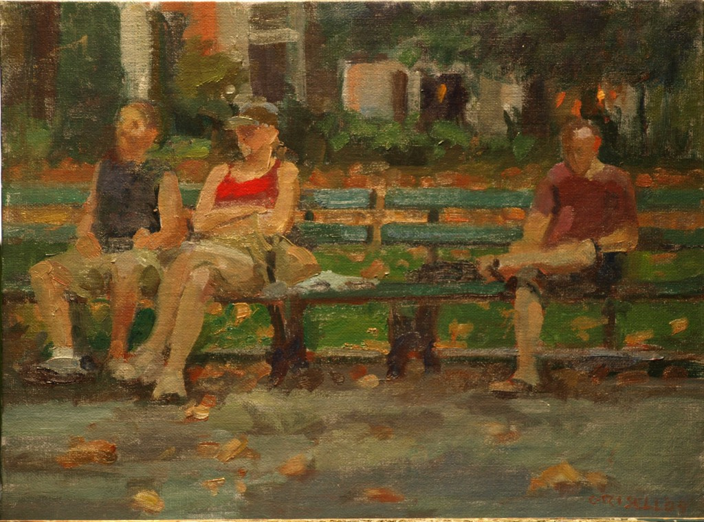 Bench Sitters, Oil on Canvas, 12 x 16 Inches, by Susan Grisell, $325
