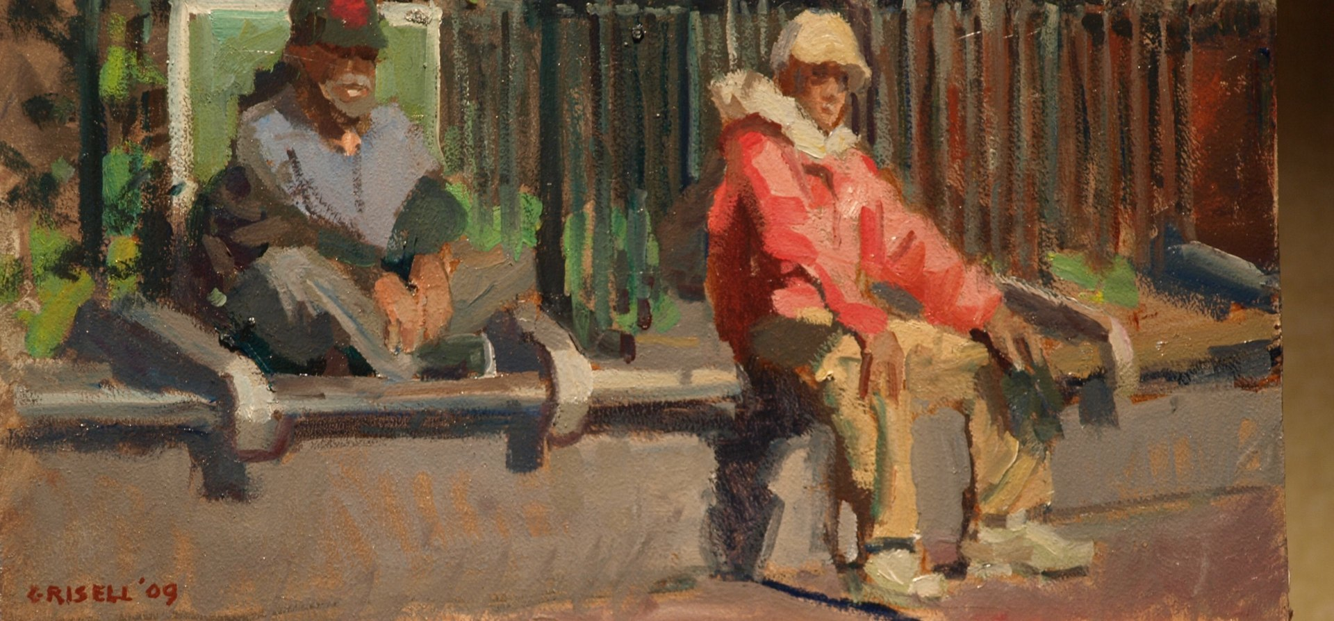 Bench Sitters - Washington Square, Oil on Panel, 9 x 16 Inches, by Susan Grisell, $325