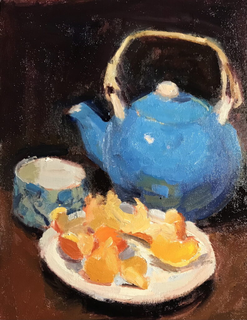 Bernie's Teapot, Oil on Canvas on Panel, 14 x 11 Inches, by Susan Grisell, $325