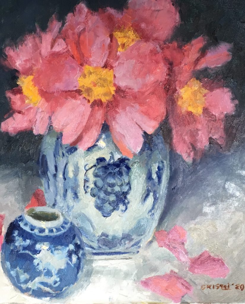 Big Pink Peony, Oil on Canvas, 20 x 16 Inches, by Susan Grisell, $750