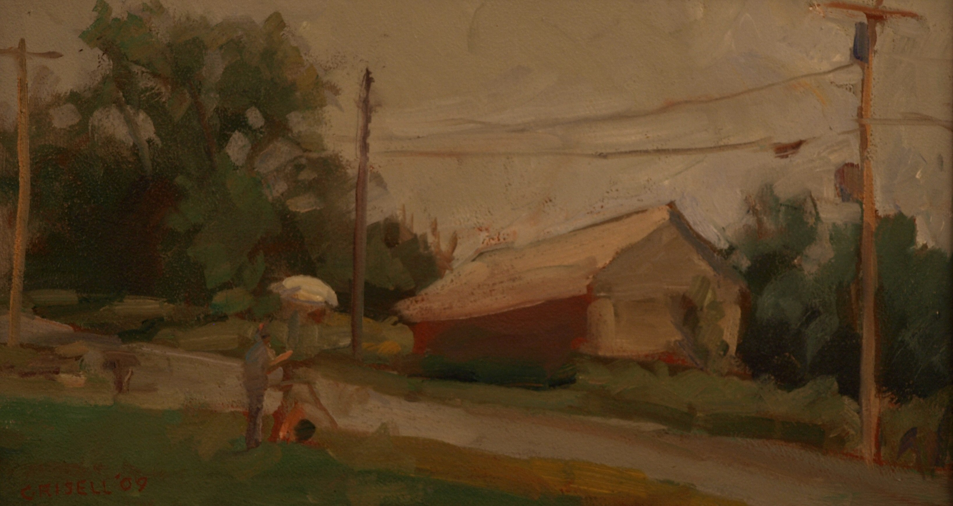 Bill Newton's Barn, Oil on Panel, 9 x 16 Inches, by Susan Grisell, $250
