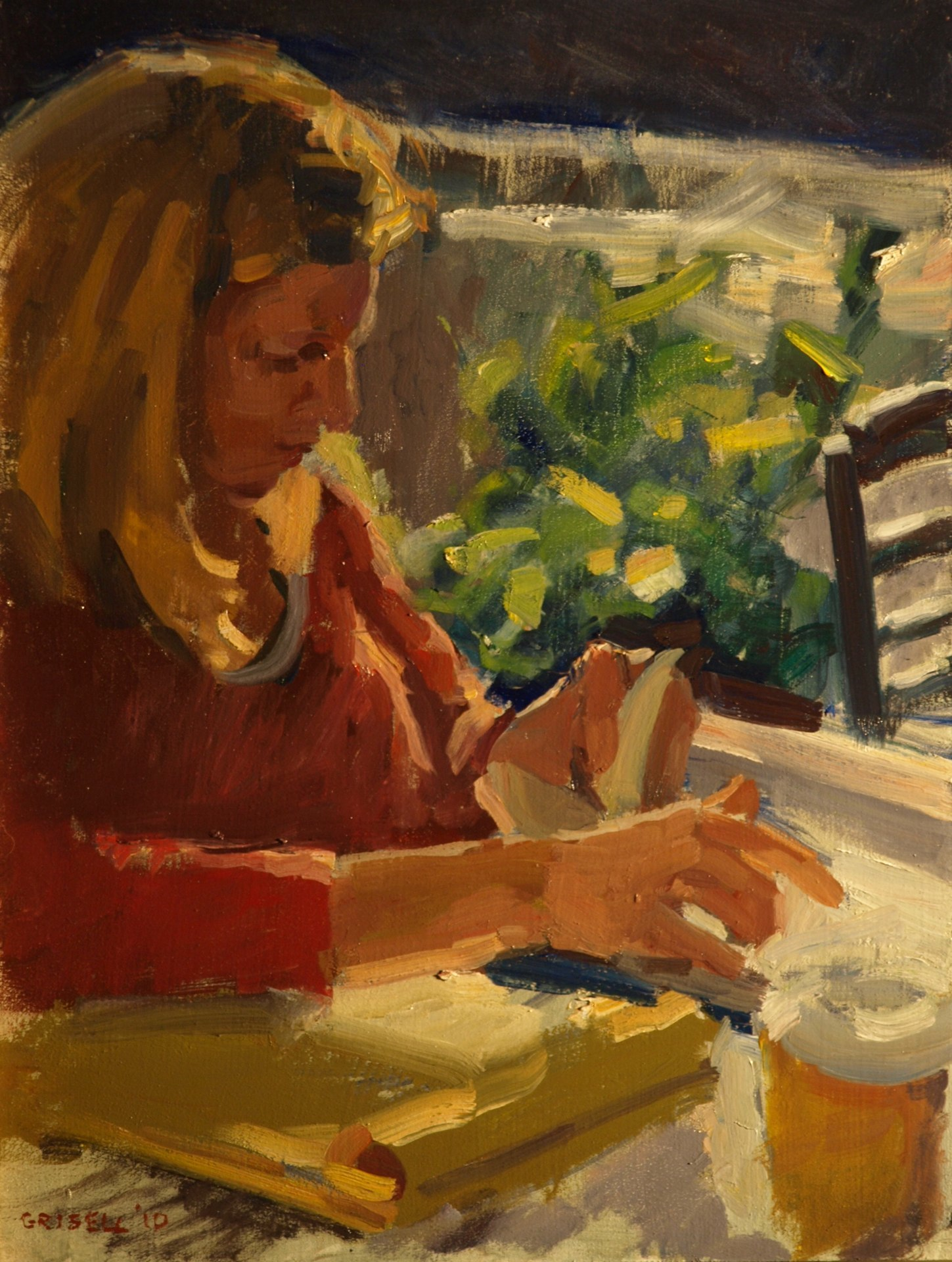 Book and Coffee, Oil on Panel, 16 x 12 Inches, by Susan Grisell, $300