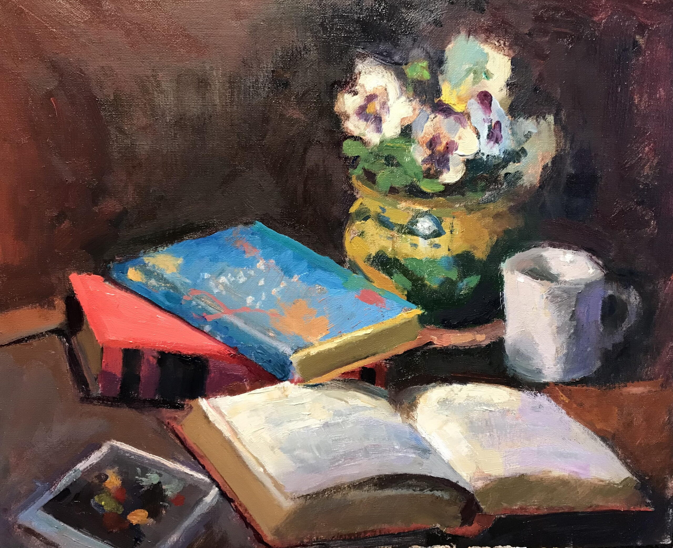 Books and Pansies, Oil on Canvas on Panel, 16 x 20 Inches, by Susan Grisell, $550