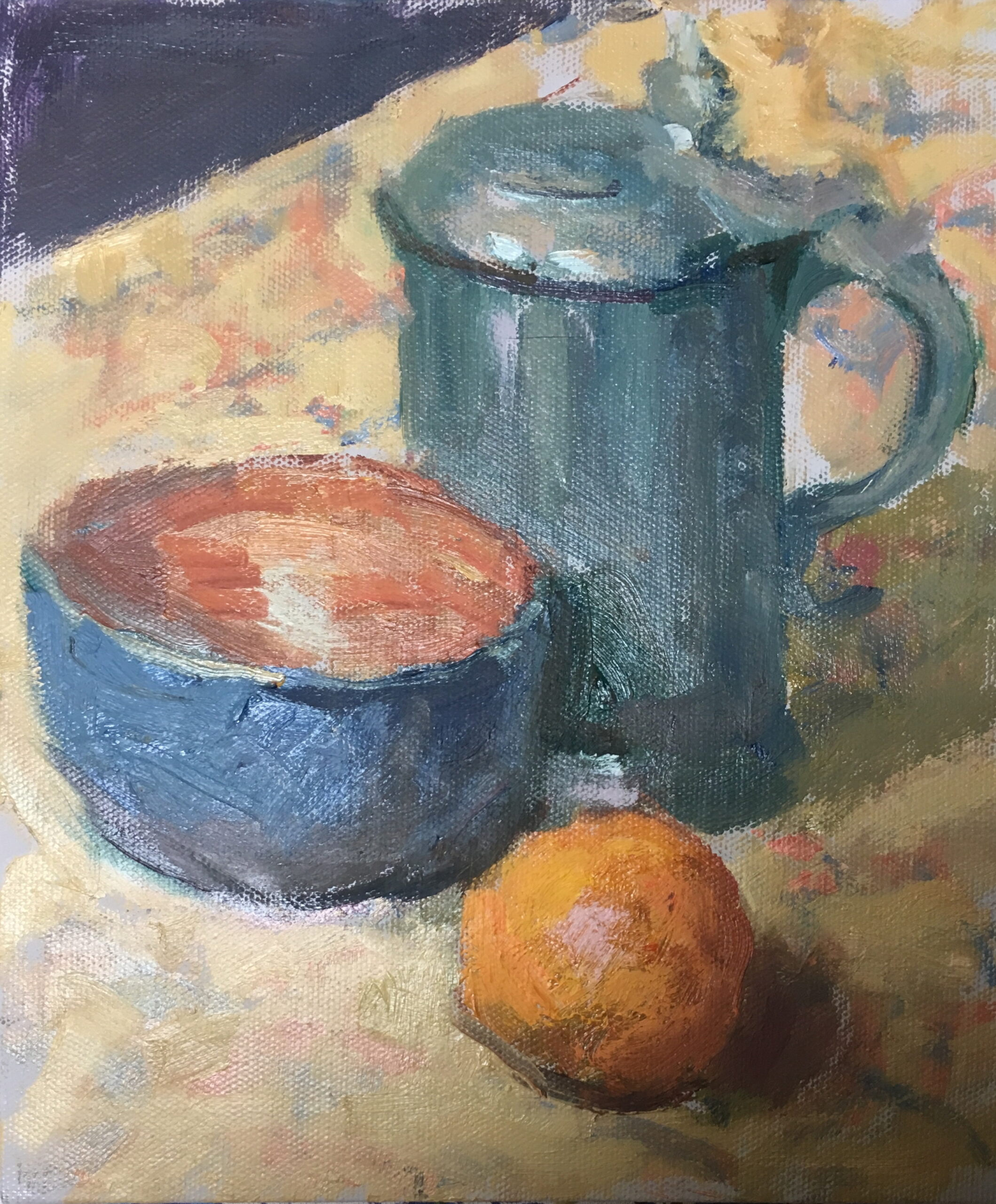 Bowl and Stein, Oil on Canvas on Panel, 10 x 8 Inches, by Susan Grisell, $200