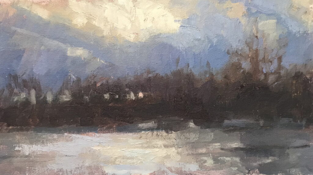 Break in the Clouds, Oil on Canvas on Panel, 9 x 16 Inches, by Susan Grisell, $250