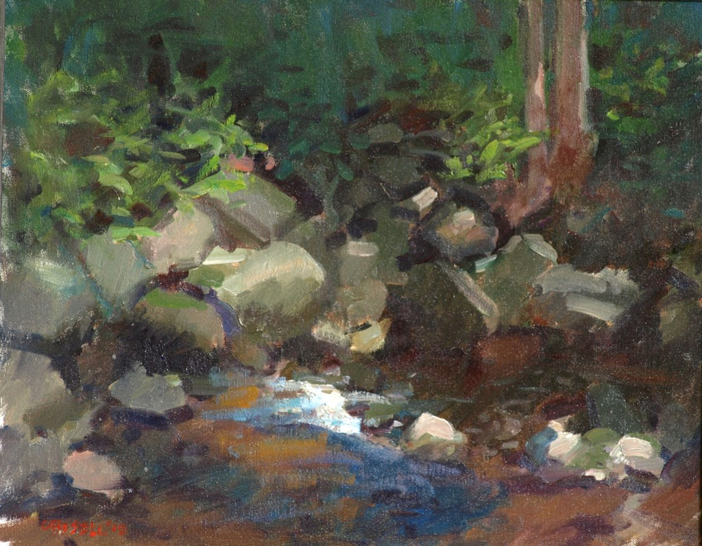 Brook and Rocks, Oil on Canvas, 16 x 20 Inches, by Susan Grisell, $425