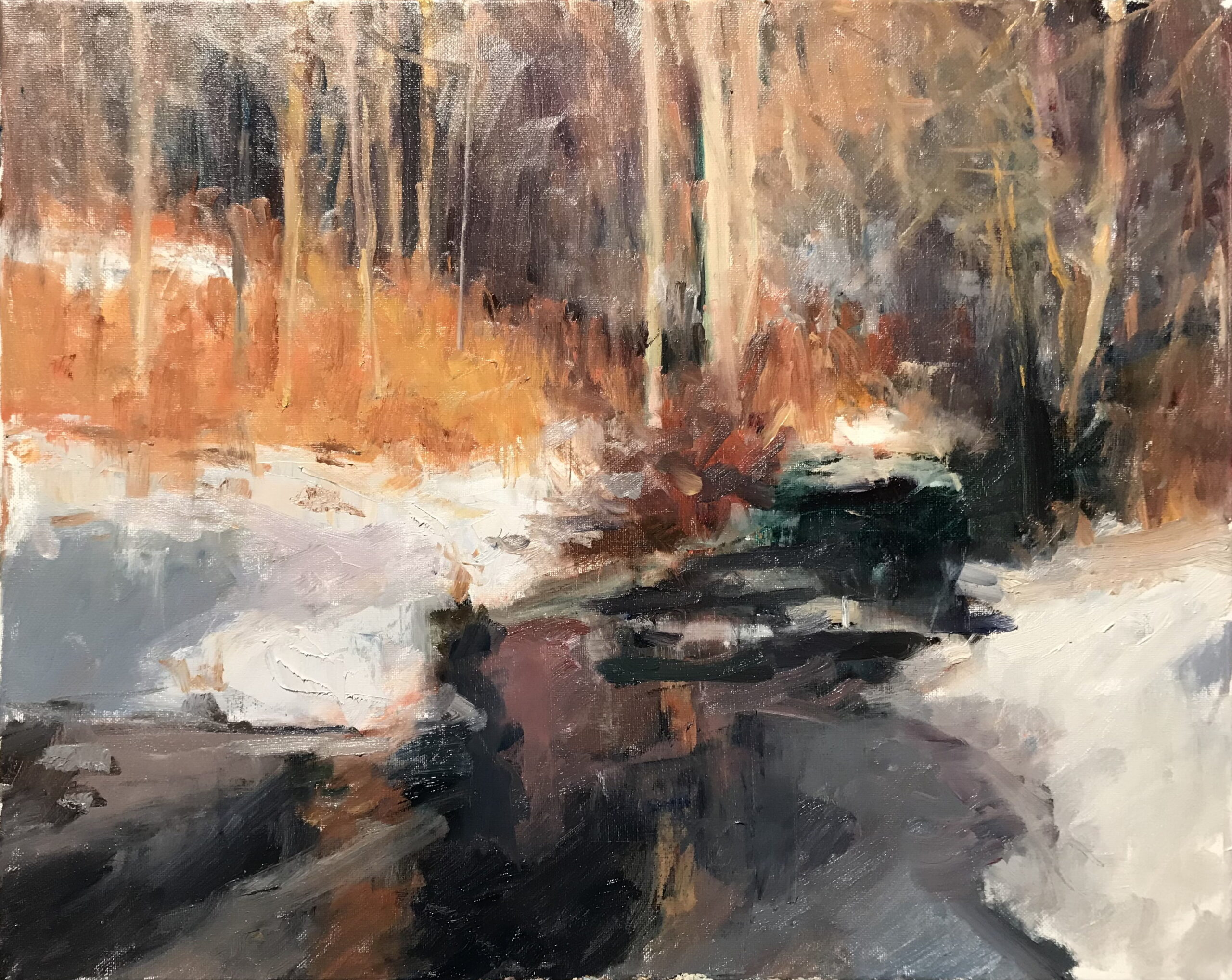 Brook in February, Oil on Canvas, 16 x 20 Inches, by Susan Grisell, $550