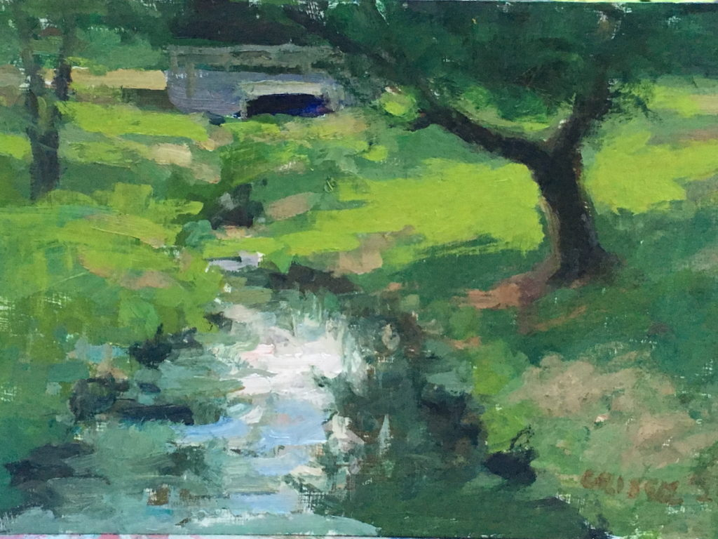 Brook in Gettysburg, Oil on Panel, 8 x 12 Inches, by Susan Grisell, $200