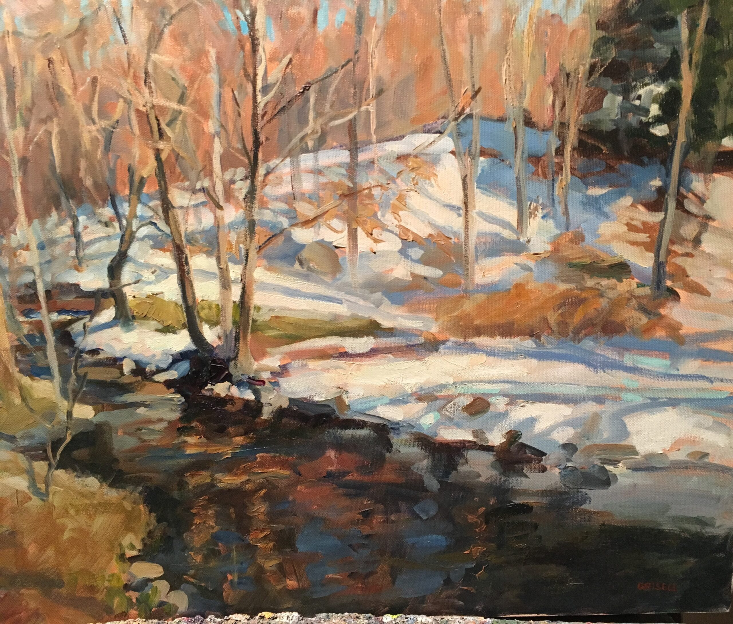 Brook in Snow, Oil on Canvas, 18 x 24 Inches, by Susan Grisell, $750