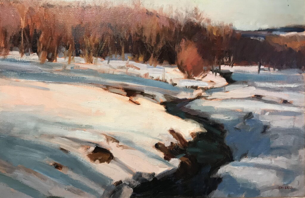 Brook in Warren, Oil on Canvas, 20 x 30 Inches, by Susan Grisell, $1200