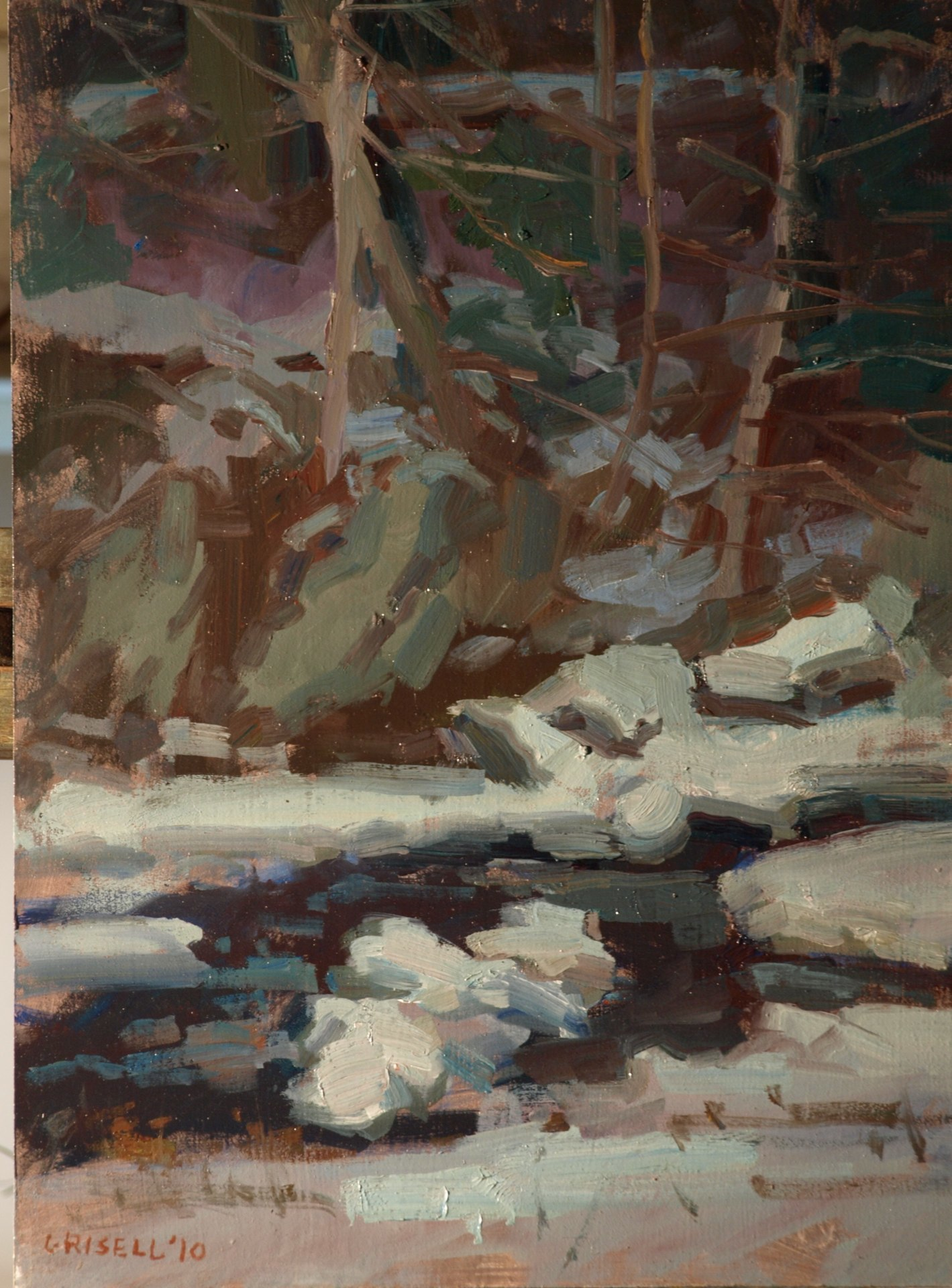 Brook - January, Oil on Panel, 16 x 12 Inches, by Susan Grisell, $300
