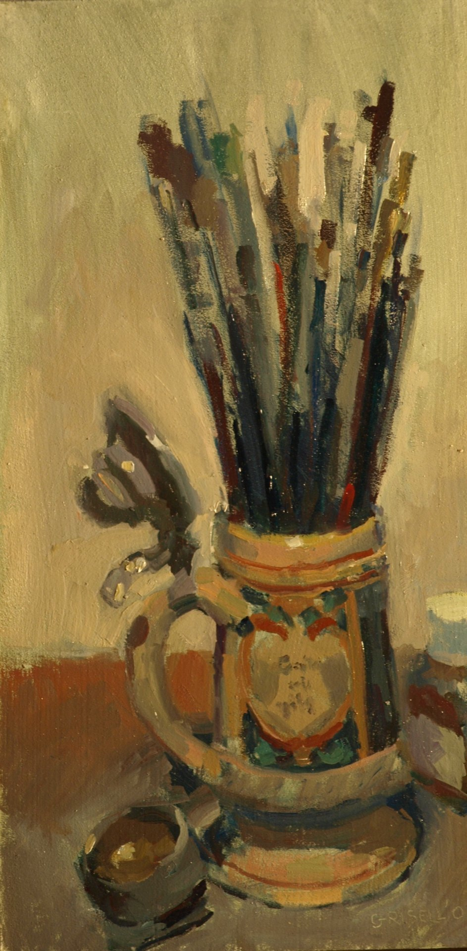Brushes and Beer Stein, Oil on Panel, 16 x 9 Inches, by Susan Grisell, $250