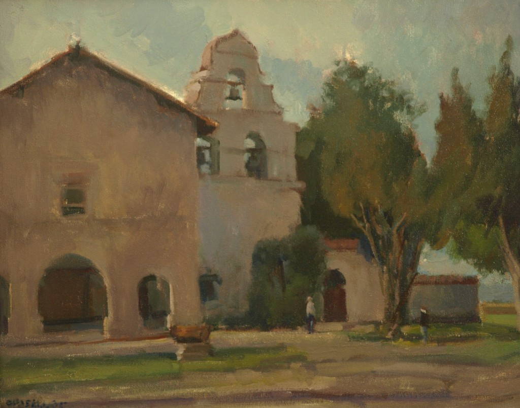 California Mission, Oil on Canvas, 16 x 20 Inches, by Susan Grisell, $475