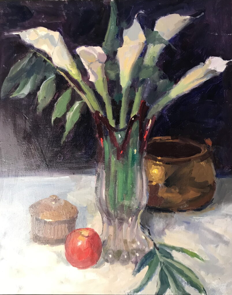 Calla and Apple, Oil on Canvas, 24 x 20 Inches, by Susan Grisell, $750