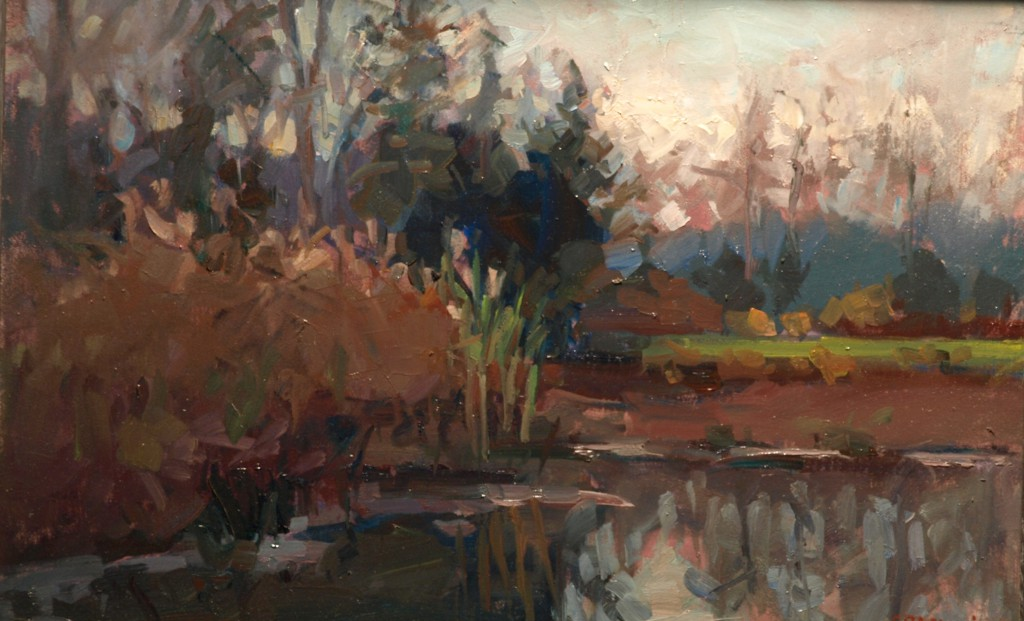 Canal - Late Afternoon, Oil on Linen on Panel, 12 x 18 Inches, by Susan Grisell, $325