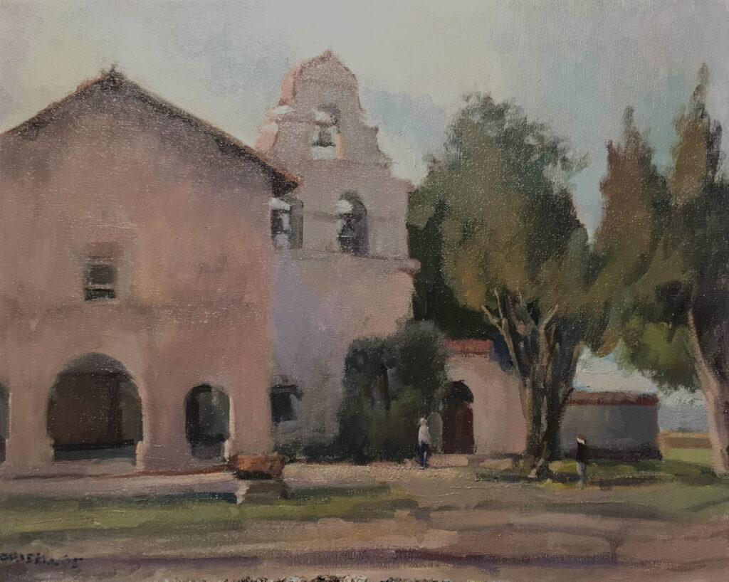 Carmel Mission, Oil on Canvas, 16 x 20 Inches, by Susan Grisell, $750