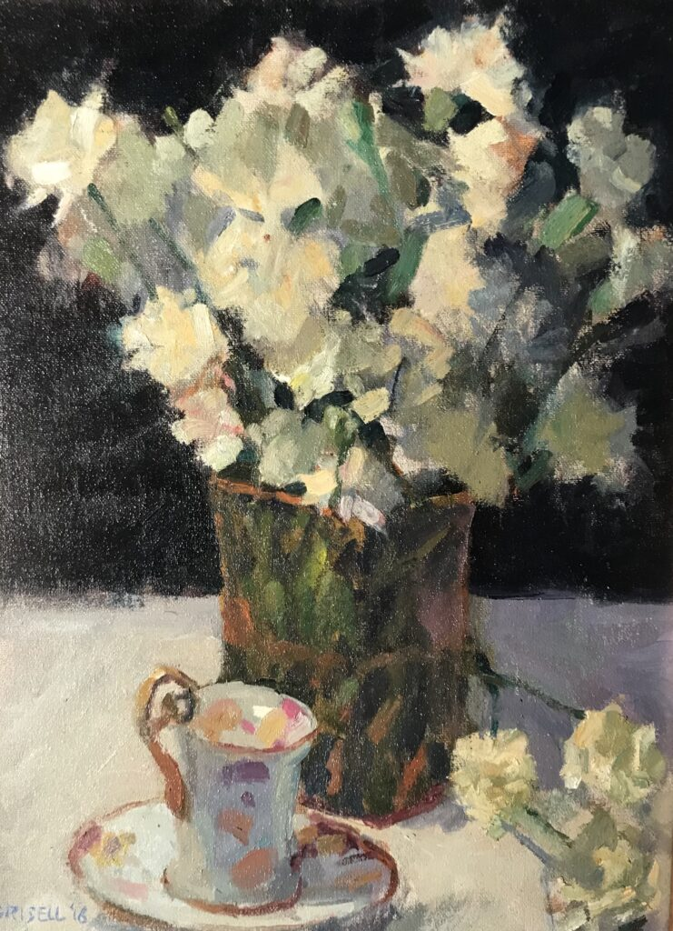 """""""Carnations and Teacup"""" Oil on Canvas on Panel, 16 x 12 Inches by Susan Grisell $300"""