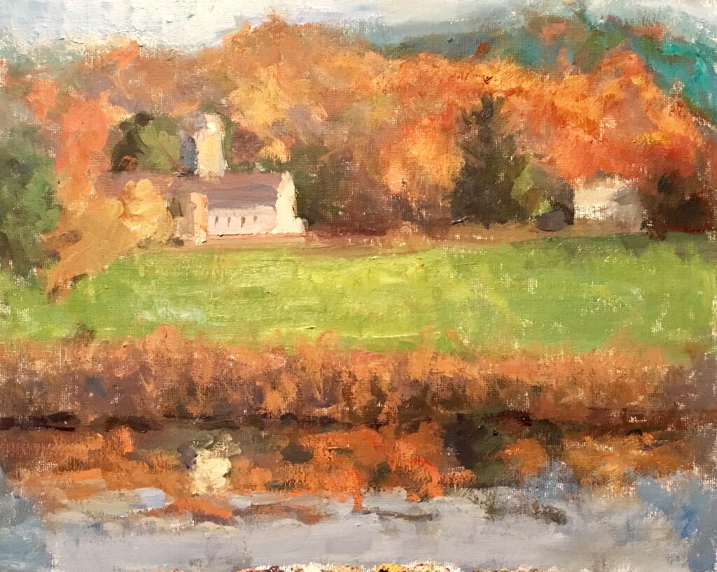 Casey's Farm, Oil on Canvas on Panel, 12 x 16 Inches, by Susan Grisell, $325