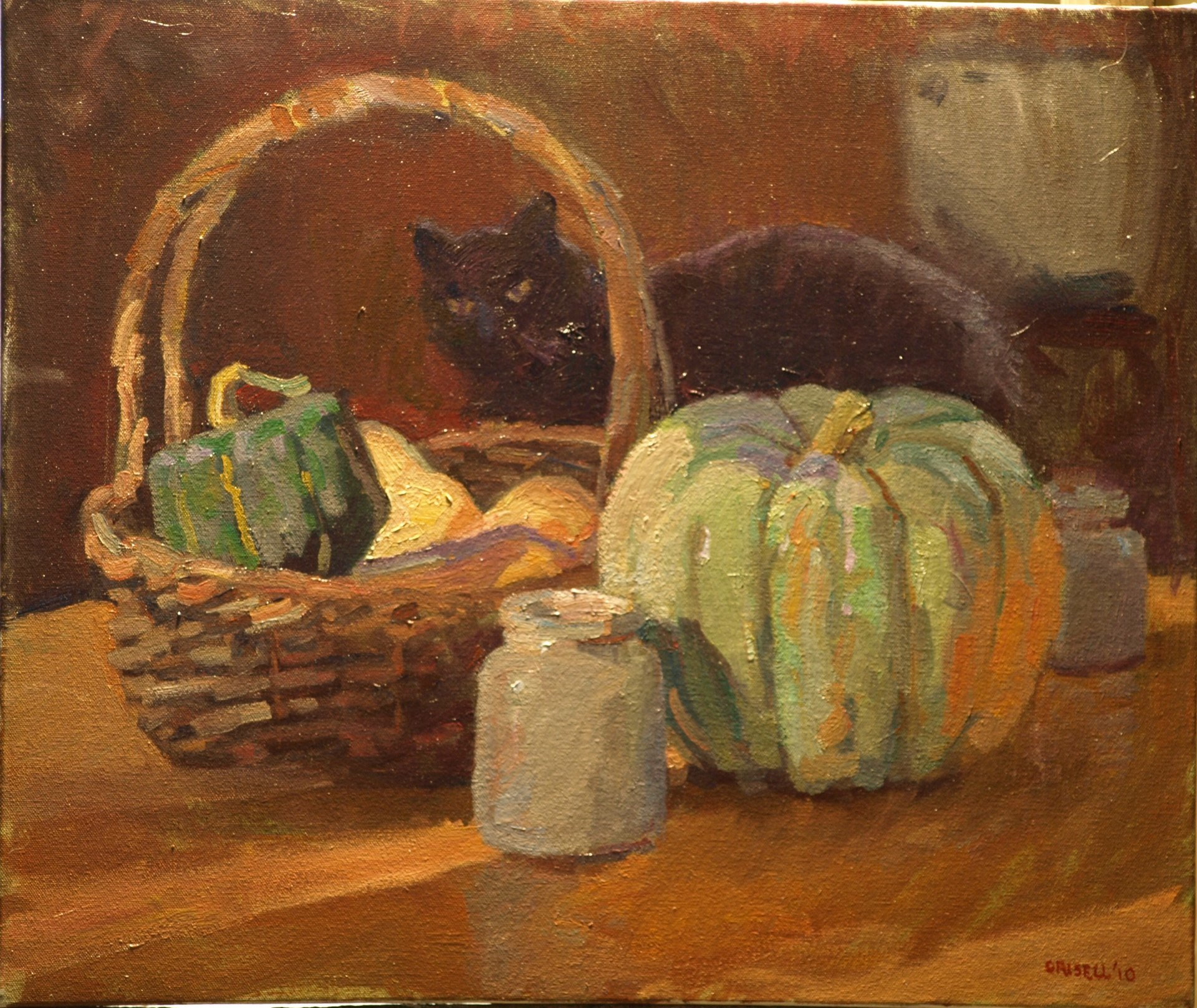 Cat and Winter Squash, Oil on Canvas, 20 x 24 Inches, by Susan Grisell, $650