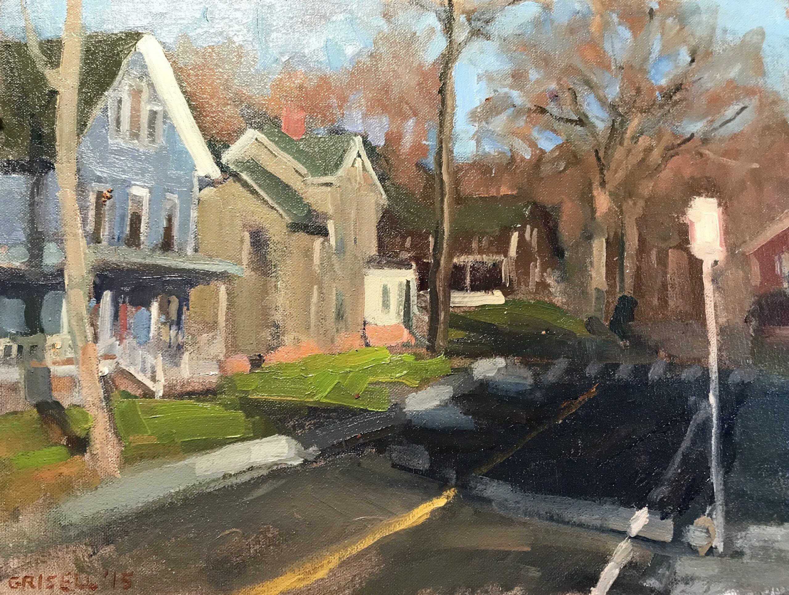 """""""Church Street"""", Oil on Canvas on Panel, 12 x 16 Inches, by Susan Grisell $325"""