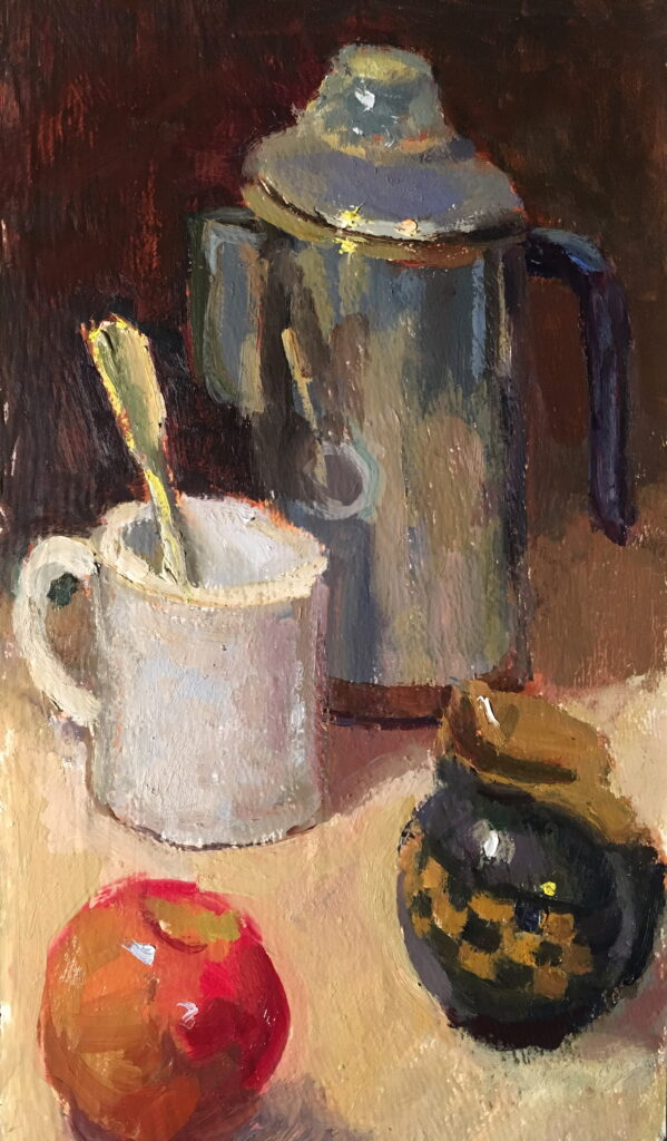 Coffee Break, Oil on Panel, 16 x 9 Inches, by Susan Grisell, $300