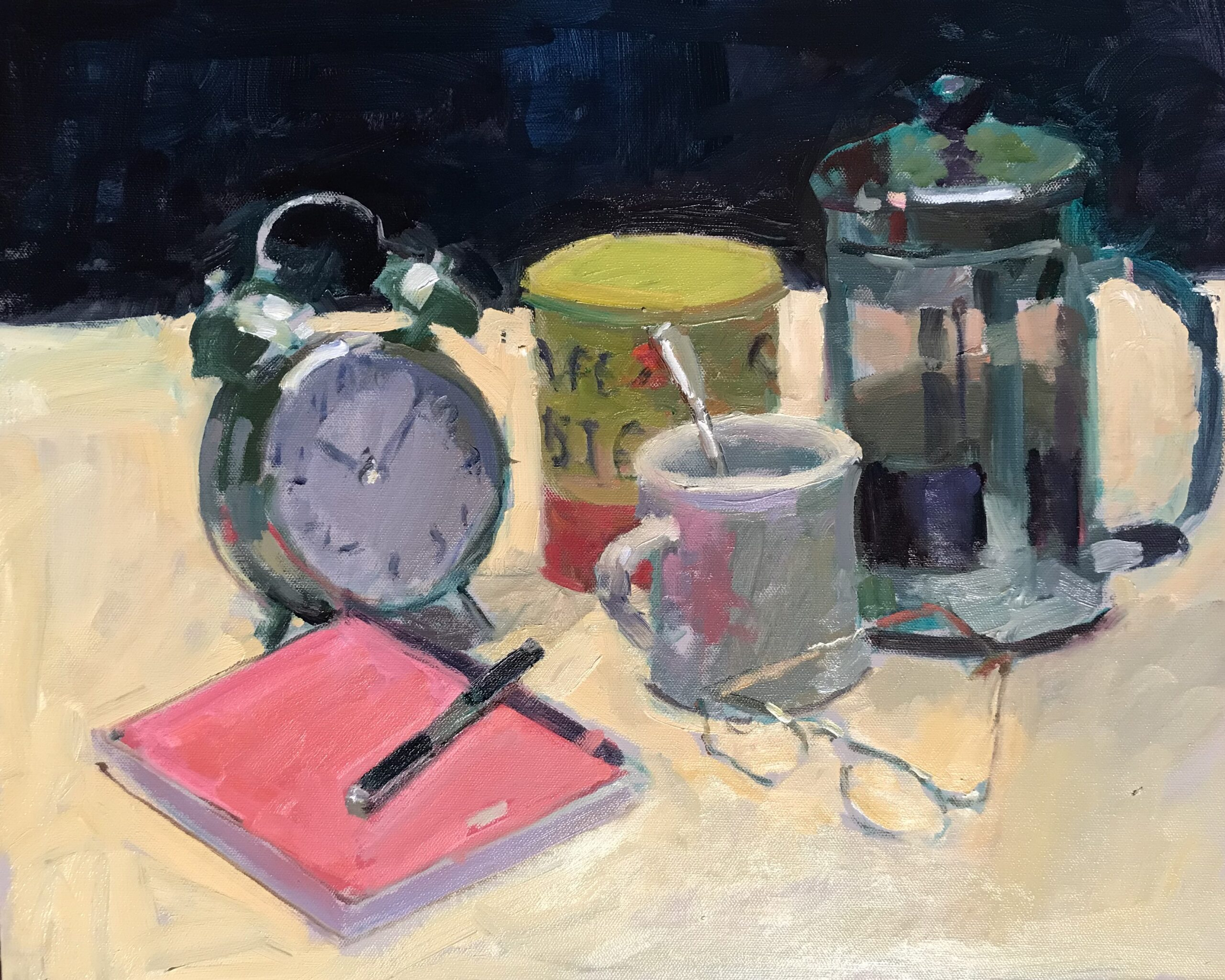 Coffee Break, Oil on Canvas on Pane, 16 x 20 Inches by Susan Grisell $550