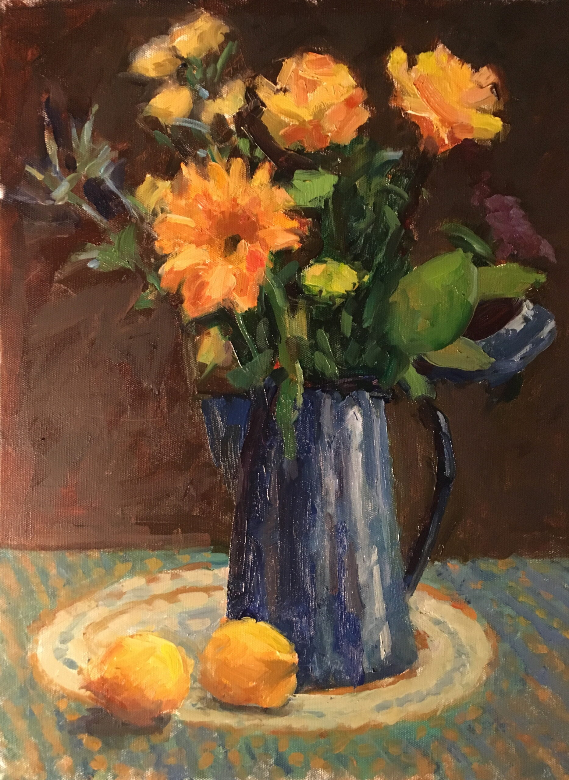 Coffee Pot Bouquet, Oil on Canvas, 20 x 16 Inches, by Susan Grisell, $550