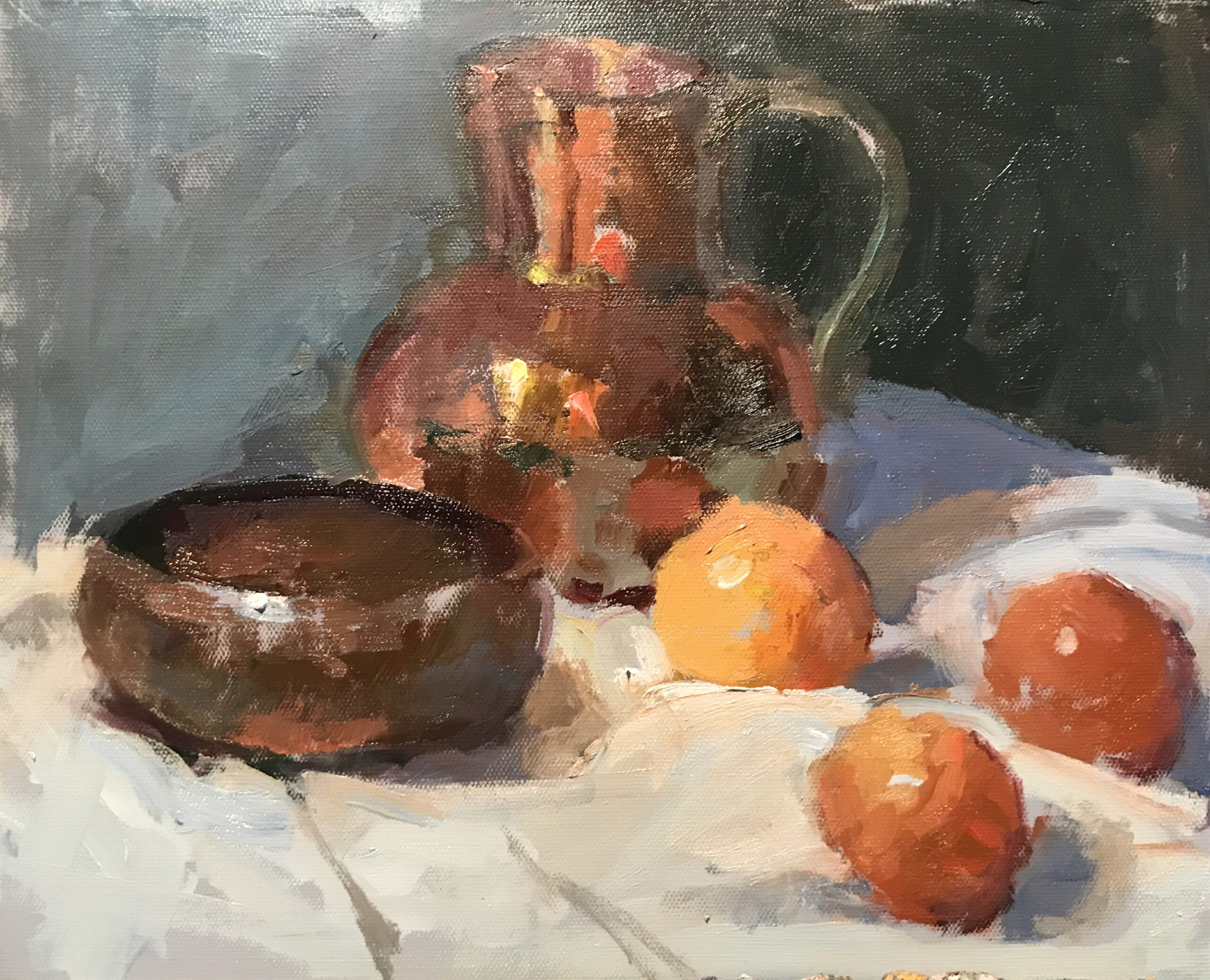 Copper and Clementines, Oil on Canvas on Panel, 11 x 14 Inches, by Susan Grisell, $300