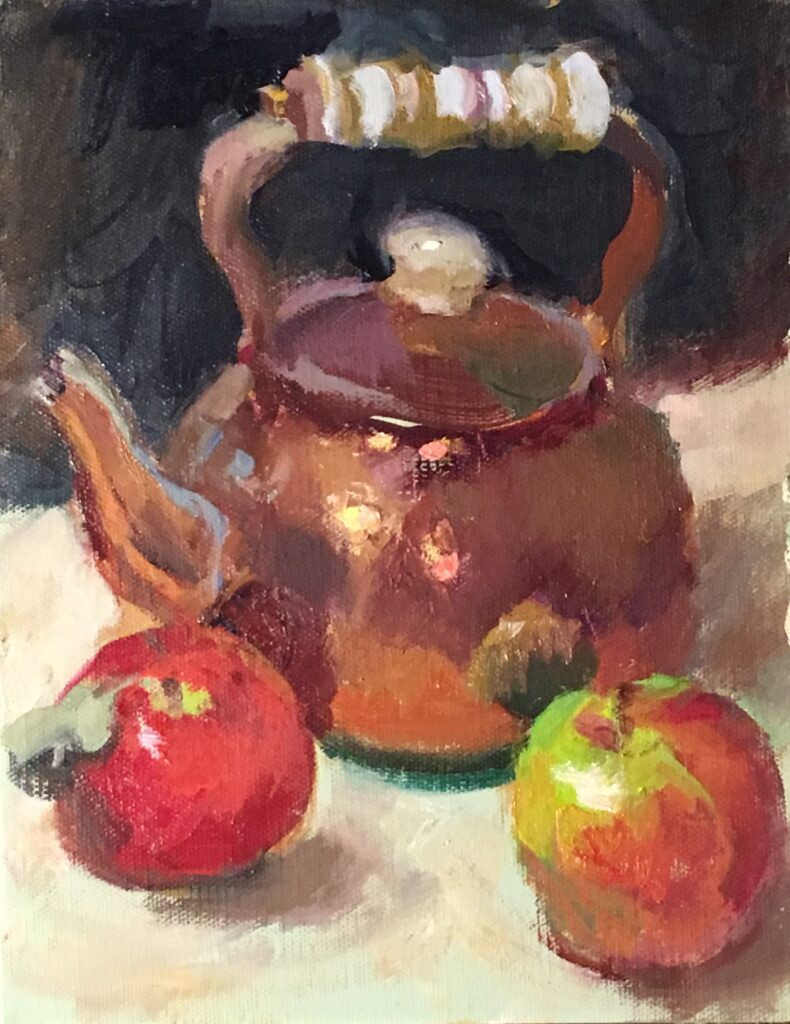 Coper Kettle and Apples, Oil on Canvas on Panel, 10 x 8 Inches, by Susan Grisell, $200