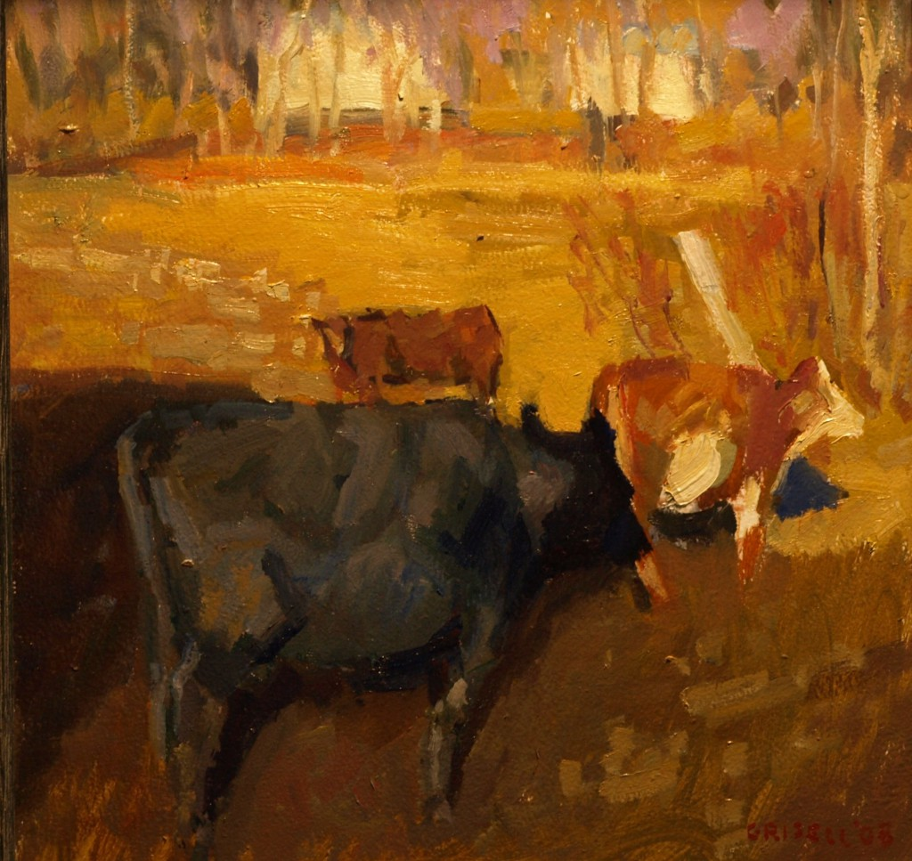 Cows in Gaylordsville, Oil on Panel, 12 x 12 Inches, by Susan Grisell, $275