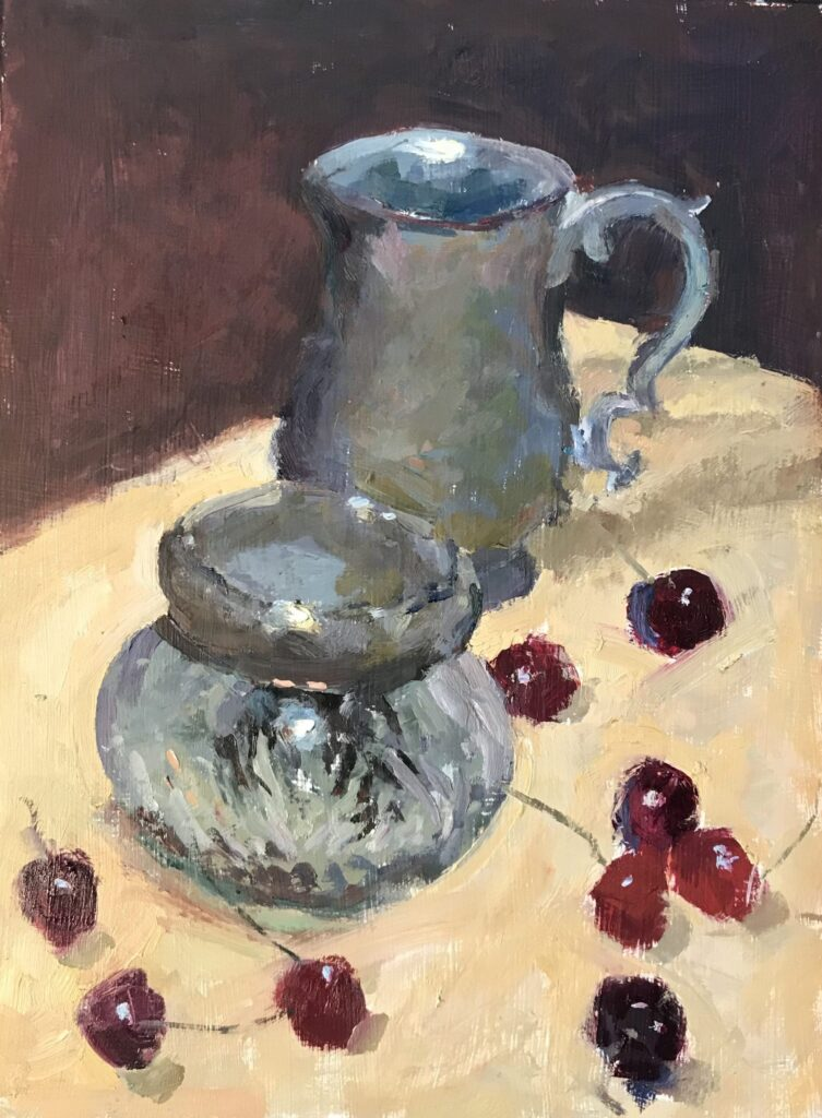 Cut Glass, Pewter and Cherries, Oil on Panel, 16 x 12 Inches, by Susan Grisell, $325