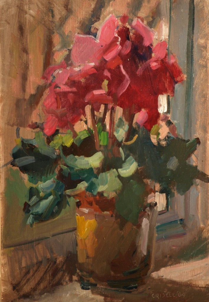Cyclamen, Oil on Panel, 18 x 12 Inches, by Susan Grisell, $325