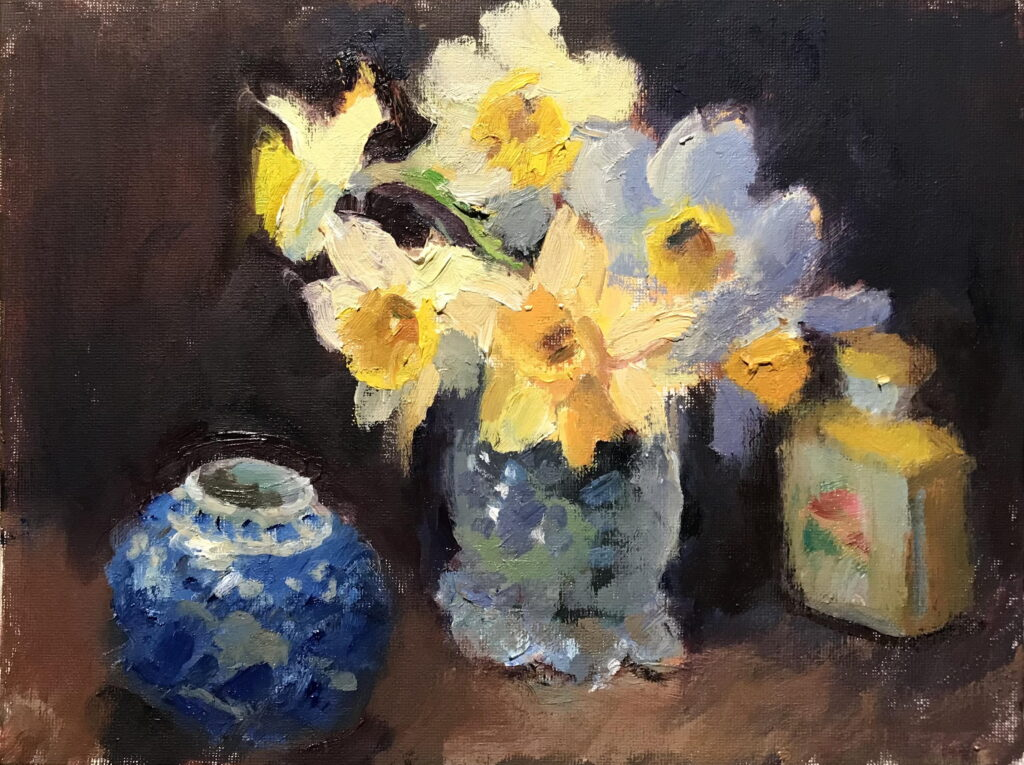 Daffodils and Cut Glass, Oil on Canvas on Panel, 9 x 12 Inches, by Susan Grisell, $200