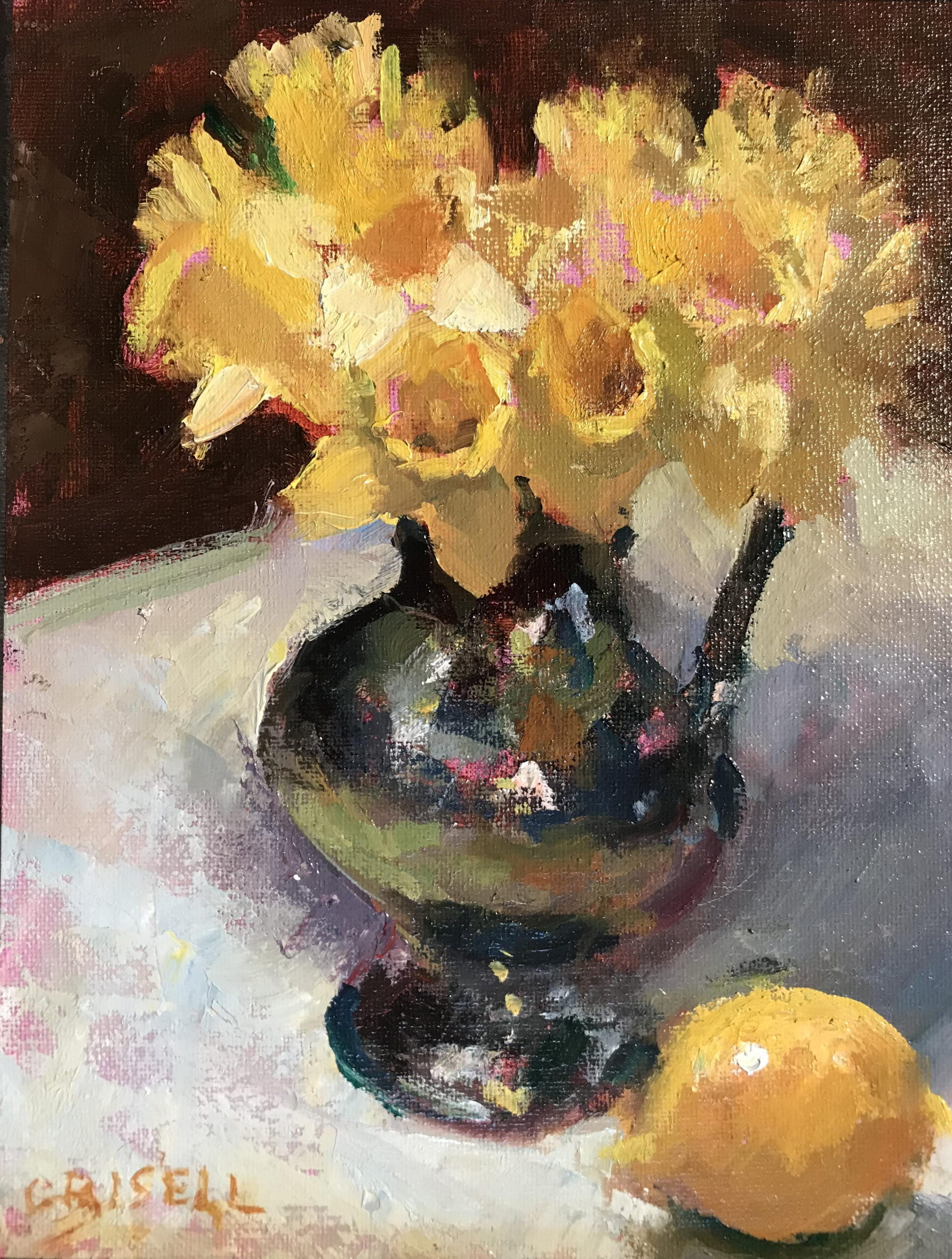 Daffodils and Silver Pitcher, Oil on Canvas on Panel, 10 x 8 Inches, by Susan Grisell, $200