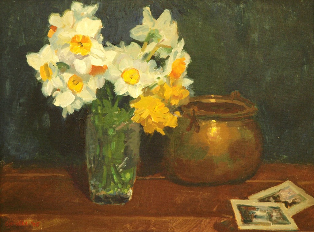 Daffodils, Oil on Canvas, 18 x 24 Inches, by Susan Grisell, $650