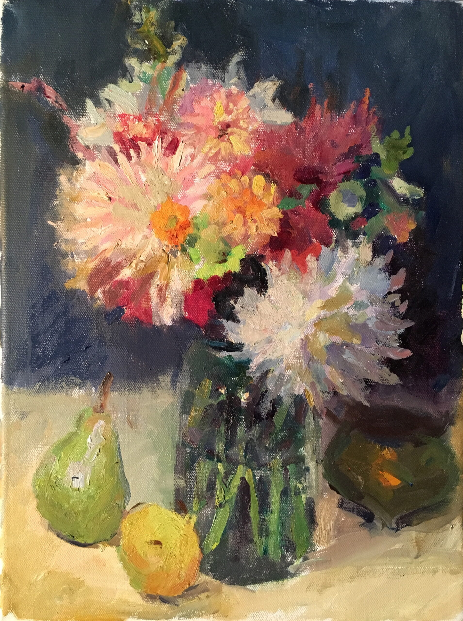 Dahlias and Pears, Oil on Canvas, 16 x 12 Inches, by Susan Grisell, $325
