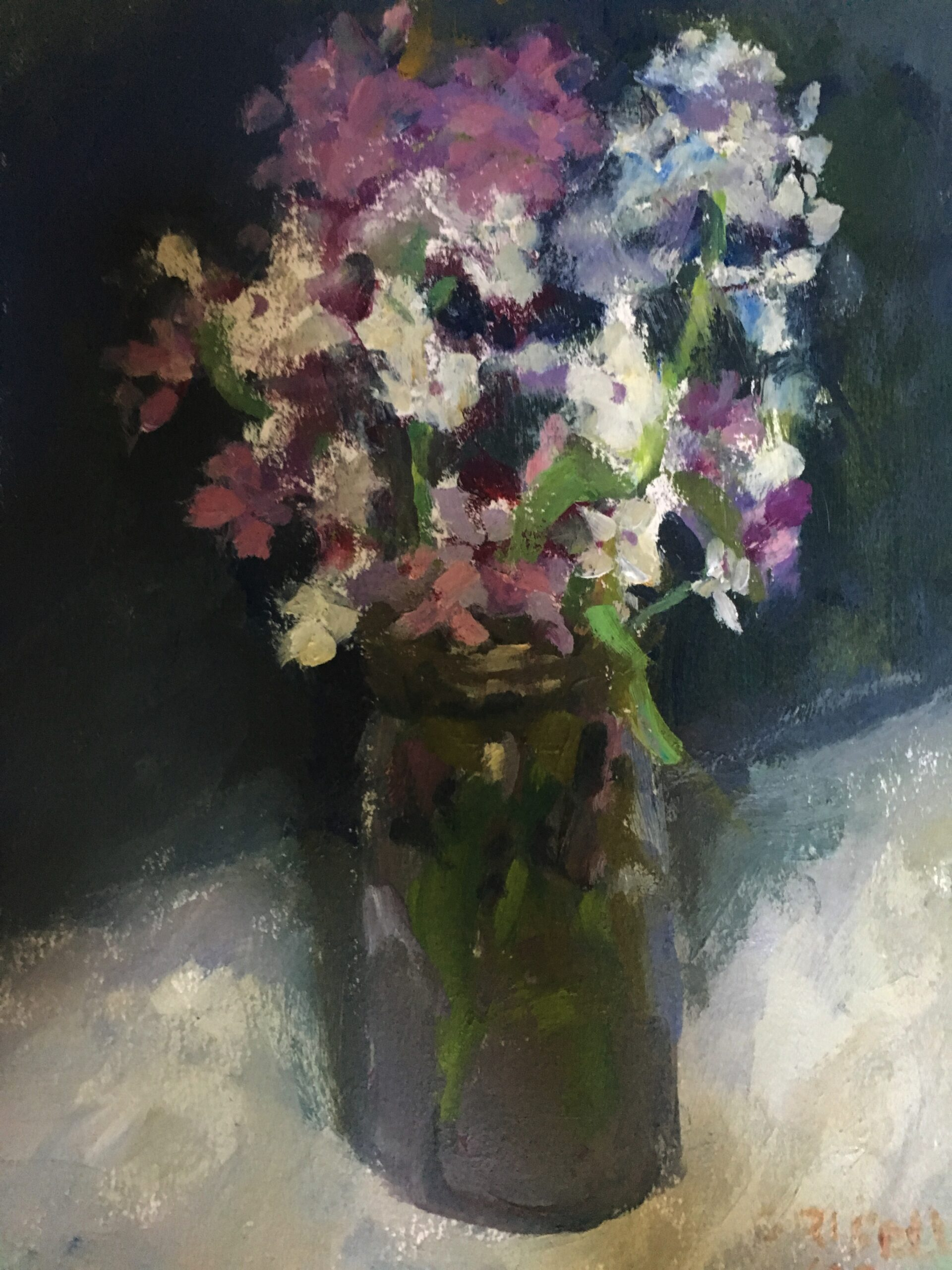 Dames Rocket, Oil on Paper, 12 x 9 Inches, by Susan Grisell, $200