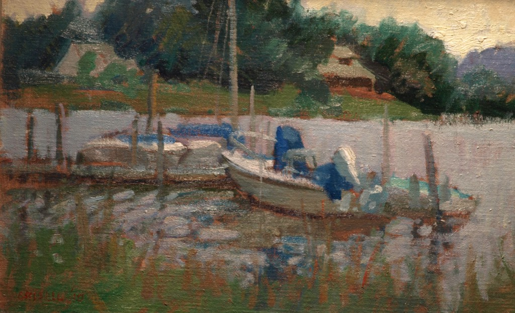 Dock - Mystic River, Oil on Linen on Panel, 12 x 18 Inches, by Susan Grisell, $325