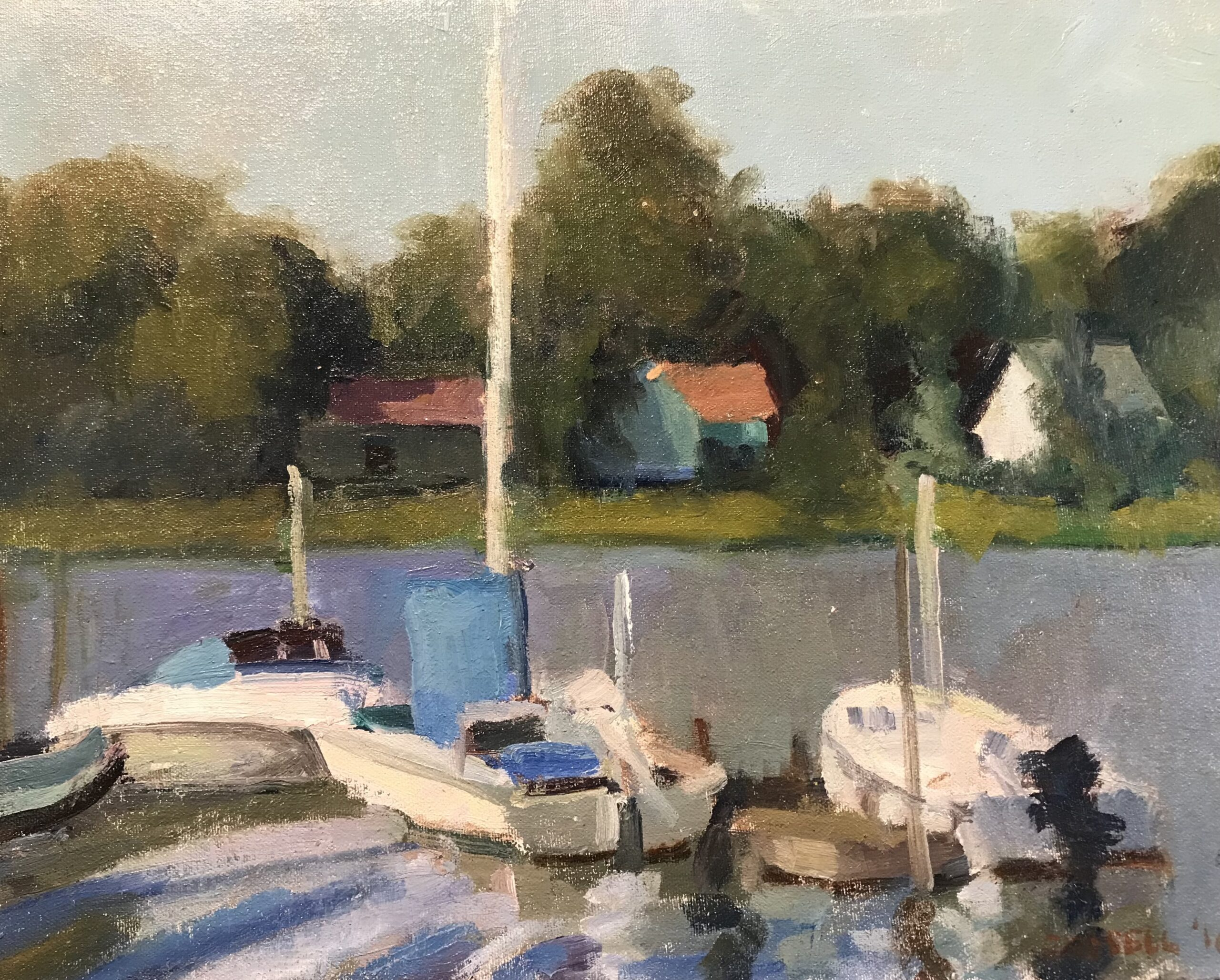 """""""Docked Sailboat"""", Oil on Canvas on Panel, 12 x 16 Inches, by Susan Grisell $325"""