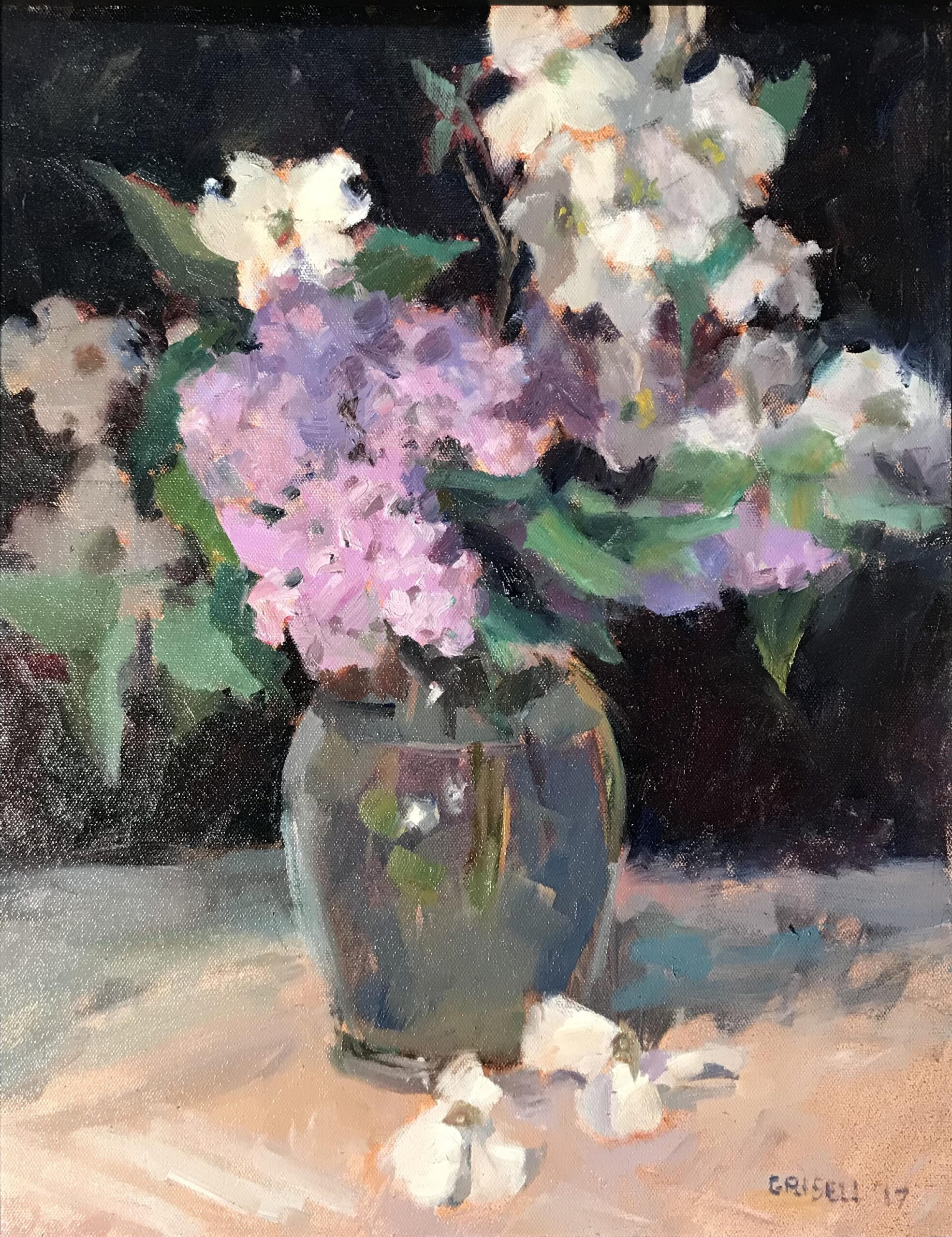 Dogwood and Lilacs, Oil on Canvas, 20 x 16 Inches, by Susan Grisell, $550