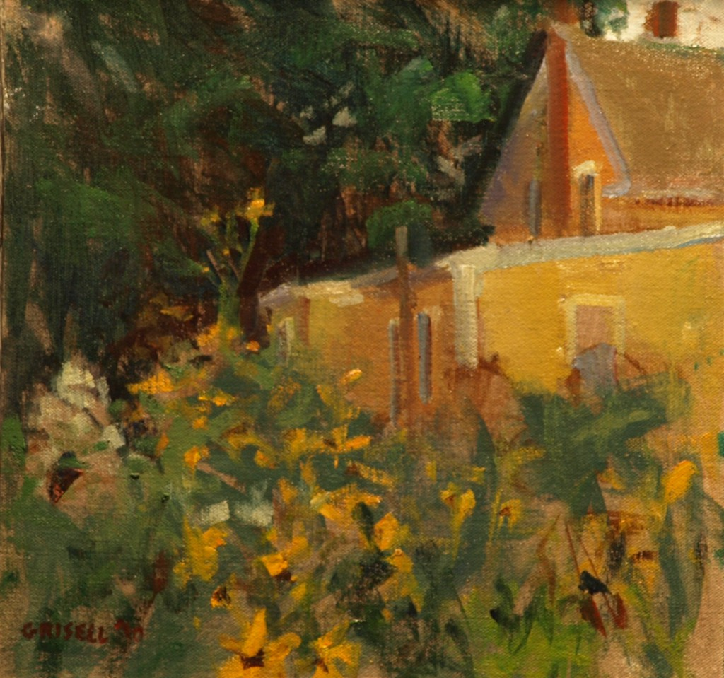 Dooryard, Oil on Linen on Panel, 12 x 12 Inches, by Susan Grisell, $275