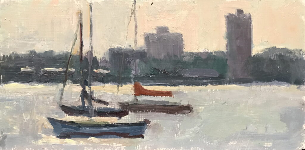 East River, Oil on Panel, 6 x 12 Inches, by Susan Grisell, $200