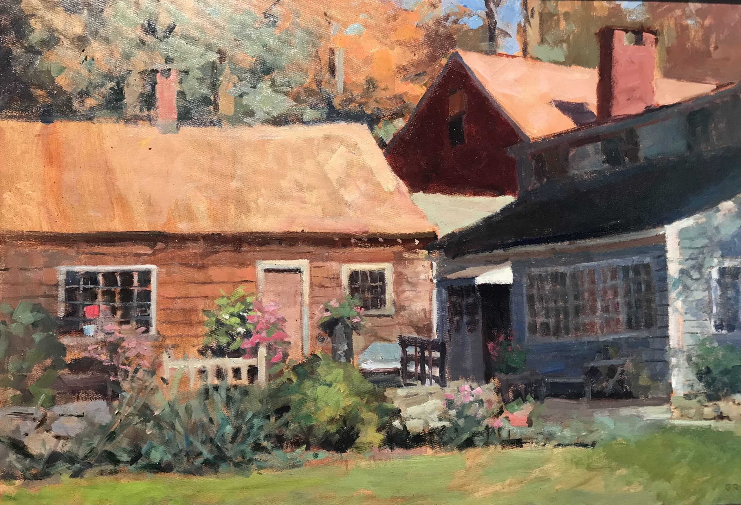 Ed's Back Yard, Oil on Canvas, 24 x 36 Inches, by Susan Grisell, $1500