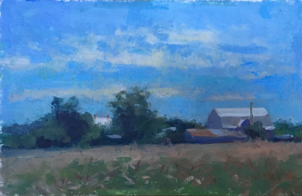Farm in Gettysburg, Oil on Panel, 6 x 10 Inches, by Susan Grisell, $315