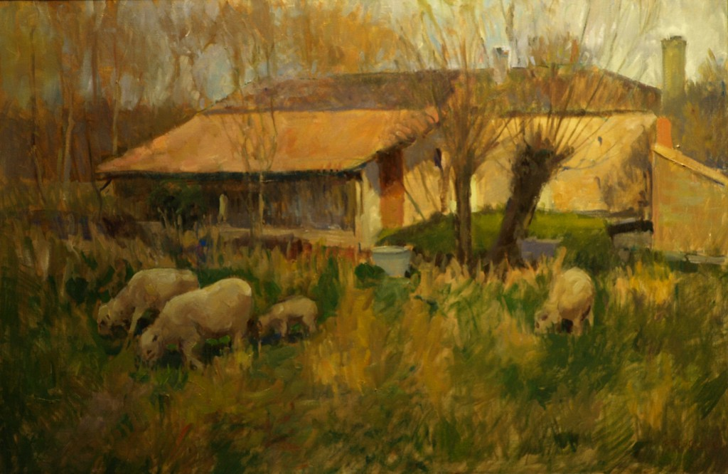 Farmyard - France, Oil on Canvas, 24 x 36 Inches, by Susan Grisell, $1200